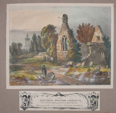 Spooner's Protean Views, No. 14. Alloway Kirk and Burns Monument. Changing to the Scene of Tam O'Shanter & The Witches.