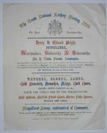 [JEWELLERS / ARCHERY PRIZES]  The Grand National Archery Meeting, 1852.