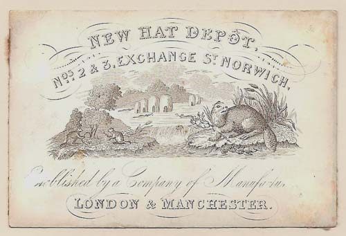 [HATTERS] New Hat Depot. Nos. 2 & 3, Exchange St. Norwich. Established by a Company of Manufacturers, London & Manchester.