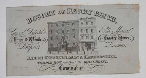 [LINEN DRAPERS]  Bought of Henry Blyth, Genial Undertakers, Linen & Woollen Draper, Silk Mercer, Hosier, Glover, Laceman, Ribbon Warehouseman & Haberdasher Temple Row, next door to the Royal Hotel, Birmingham.