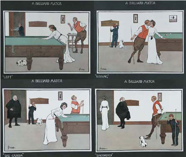 A Billiard Match - [Set Four] 'Left, Kissing, The Canon, Snookered'.