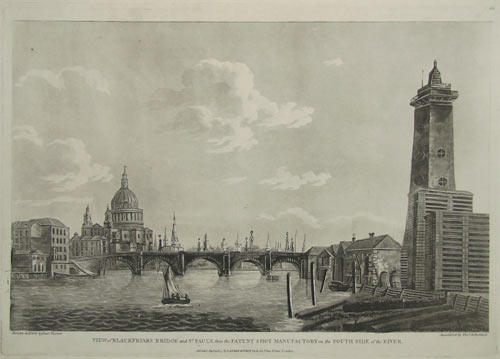 View of Blackfriars Bridge and St Paul's Cathedral, from the Patent Shot Manufactory on the South Side of the River.