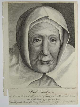 Issobel Walker, who lived in the Parish of Daviot, Aberdeen Shire, and died the 2d. of Novemr. 1774, aged 112 years.