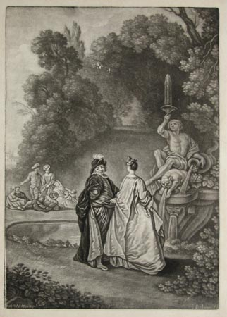 [A garden scene with a fountain.]