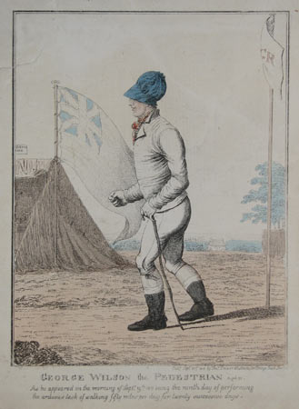 George Wilson, the pedestrian, Aged 50. As he appeared on the morning of Septr. 19th 1815, being the ninth day of performing the arduous task of walking fifty miles per day for twenty successive days.