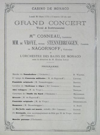 [Four sheets relating to Monaco: two concert programmes for the Casino de Monaco; an admission ticket for one of those concerts; & a programme for a pigeon shoot.]
