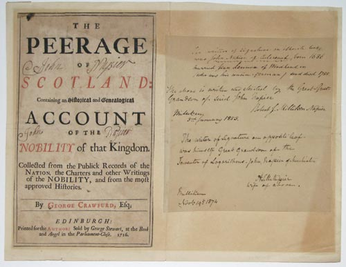 [Titlepage signed by Sir John Napier.] The Peerage of Scotland...