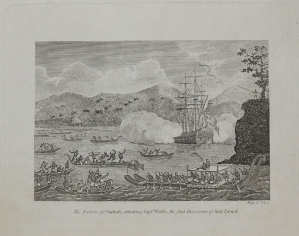 The Natives of Otaheite, attacking Capt.n Wallis, the first Discoverer of that Island.