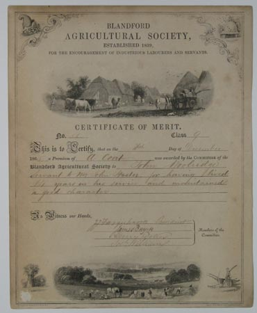 Blandford Agricultural Society, Established 1839, for the Encouragement of Industrious Labourers and Servants. Certificate of Merit.