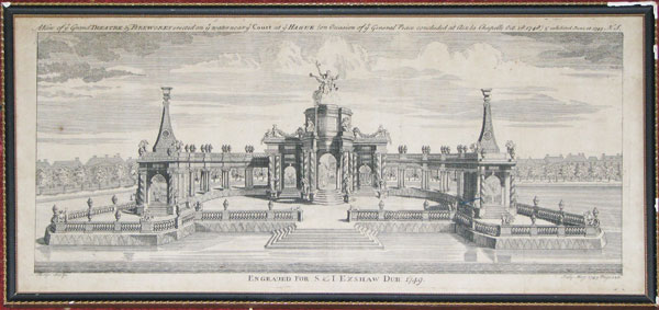 A View of ye Grand Theatre & Fireworks erected on ye water near ye Court of ye Hague