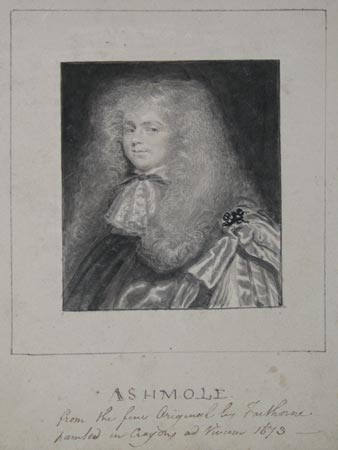 Ashmole.  form the Original by Faithorne painted in crayons ad Vivum 1673 [captioned in ink below portrait].