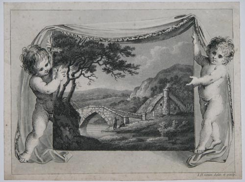[Two putti unveiling a rural scene.]