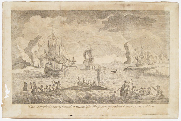 The Longboats making towards a Whale, & the Harponiers going to cast their Lances at him.