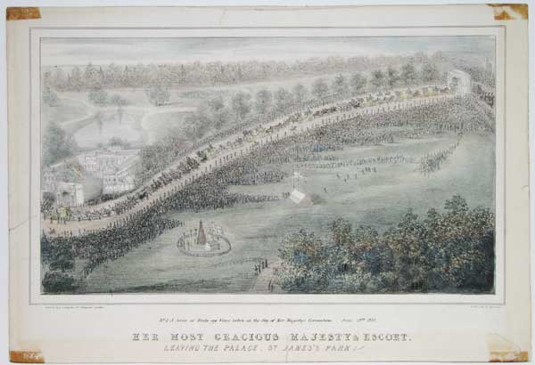 Her Most Gracious Majesty & Escort Leaving The Palace, St. James's Park.  No.1 - A Series of Birds eye Views taken on the day of Her Majestys Coronation. -  June 28th. 1838.