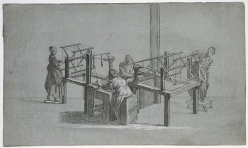 [Four women weavers at their looms.]