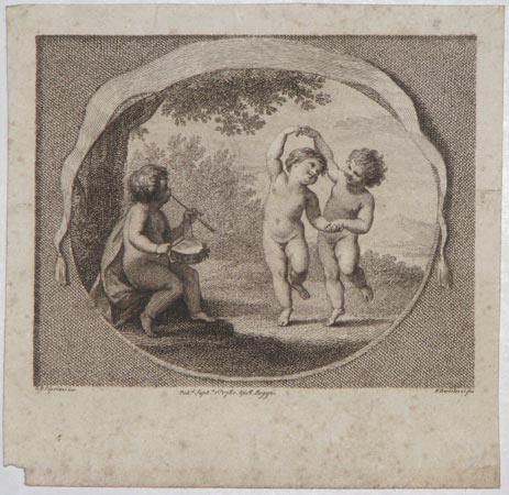 [An unattributed concert ticket featuring three putti.]