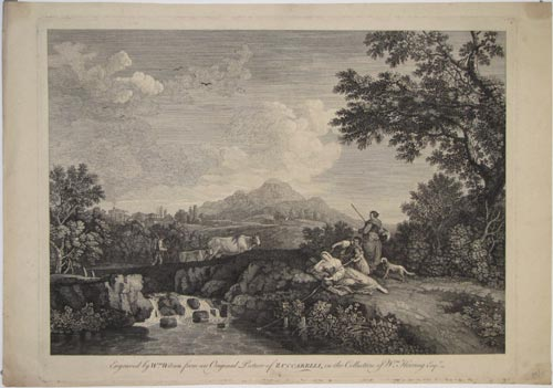 [Landscape with figures and cattle by a stream.]