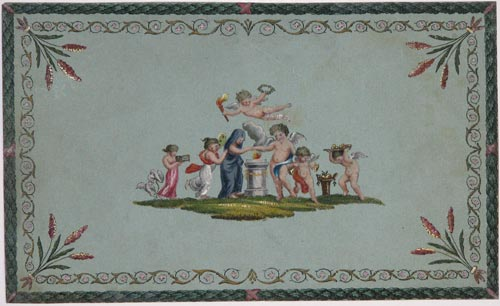 [Design featuring children and winged putti.]
