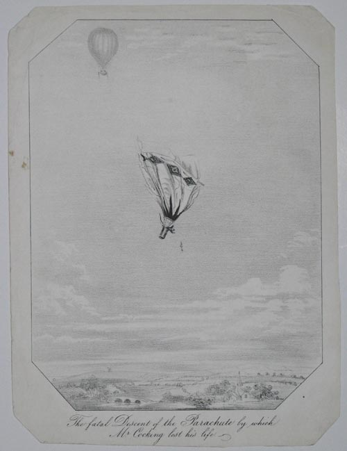 The fatal Descent of the Parachute by which Mr Cocking lost his life.