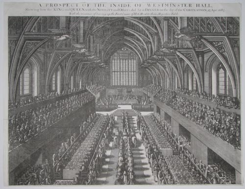 A Prospect of the Inside of Westminster Hall, Shewing how the King and Queen, with the Nobility and Others, did Sit at Dinner on the day of the Coronation, 23 Apr. 1685.