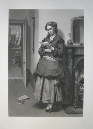 [A young woman reading a valentine.]