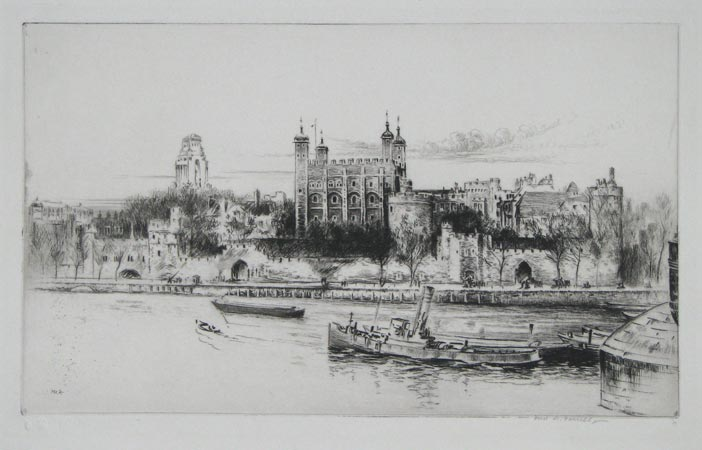 [The Tower of London from the south bank of the Thames.]