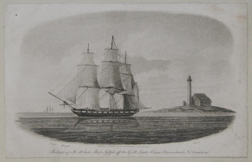 Portrait of  H M late Ship Sylph off the Gull Light House, Connecticut, N America.