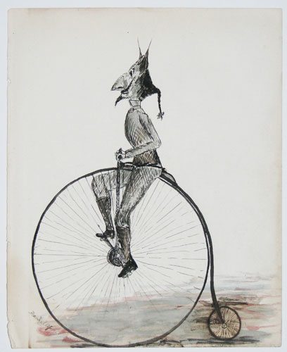 [Man riding a penny farthing.]
