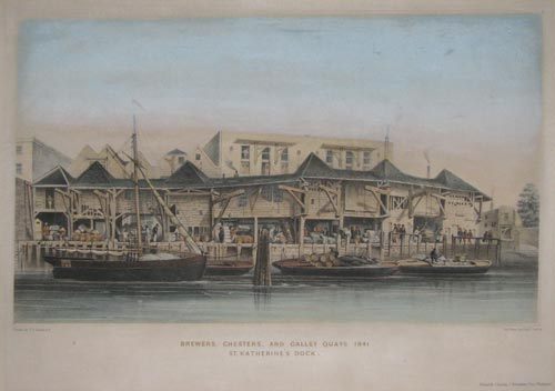 Brewers, Chesters, and Galley Quays 1841. St. Katherine's Dock.