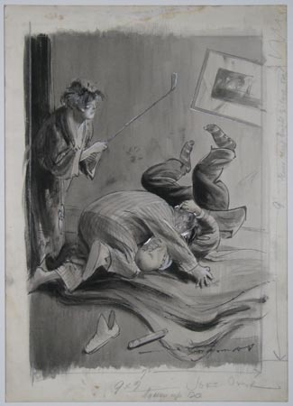 [Caricature of a man wrestling with a burglar, with his wife wielding a golf club.]