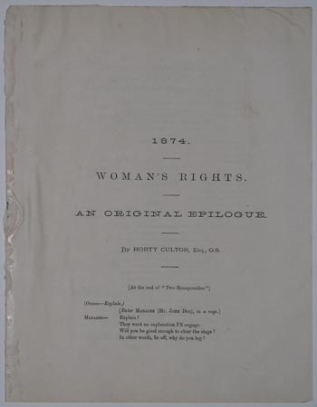 1874. Woman's Rights. An Original Epilogue.