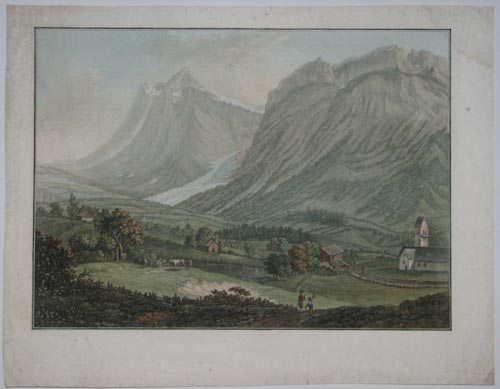 [Swiss landscape with a small village and church set at the base of the mountains, where further houses are seen up the steep mountainside.]