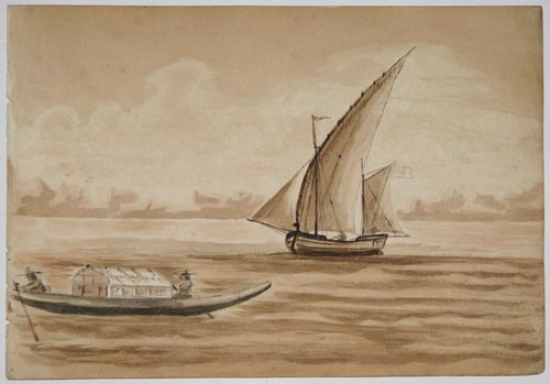 [A 'Venetian gondola' and another boat.]