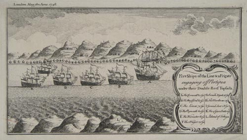 Five Ships of the Line & a Frigate engaging off Portipea under their Double-Reef Topsails.