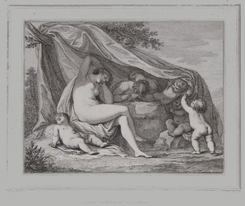 [Sleeping nudes unveiled by putti.]