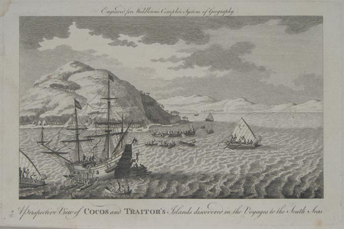 A Perspective View of Cocos and Traitor's Islands discovered in the Voyages to the South Seas.